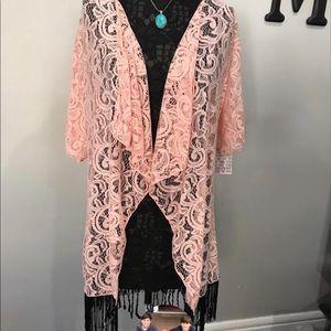LuLaRoe pink Monroe  with black fringe on bottom